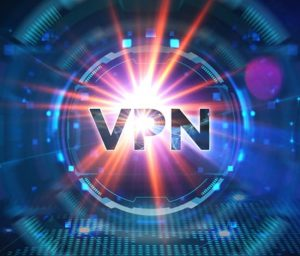 a futuristic circle whith looks like a computer chip with the word VPN on it with light shining between the P letter