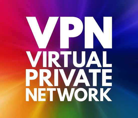 an image featuring all of the colors in a round loop with white letters on the front which say VPN VIRTUAL PRIVATE NETWORK