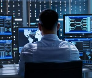 Man working on cybersecurity