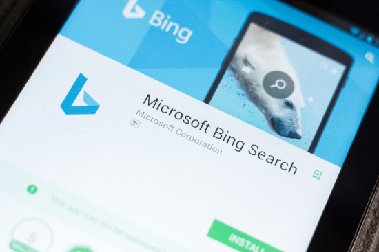 Bing Search mobile app on the screen