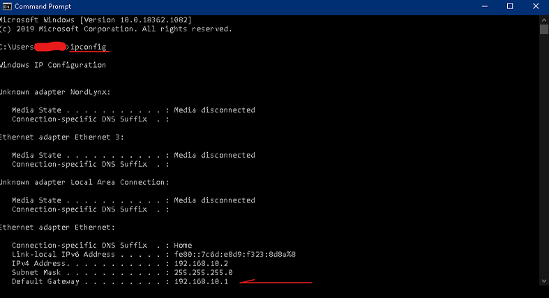 ipconfig in command prompt