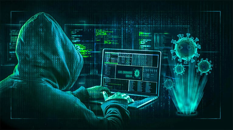 An image featuring a person using his laptop while hacking and on the right side there is the covid 19 virus